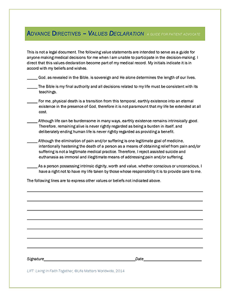 Life Matters LIFT Resources Forms – Advance Directive Forms